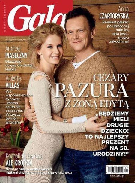 Cezary Pazura z Edytą w ciąży na okładce Gali!